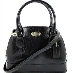 Coach Mini Cora Domed Patent Satchel - Black